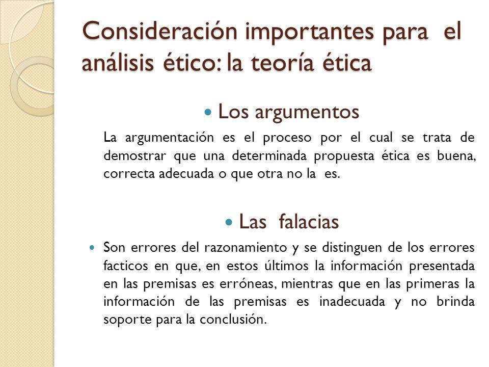Consideración importantes para el análisis ético: la teoría ética