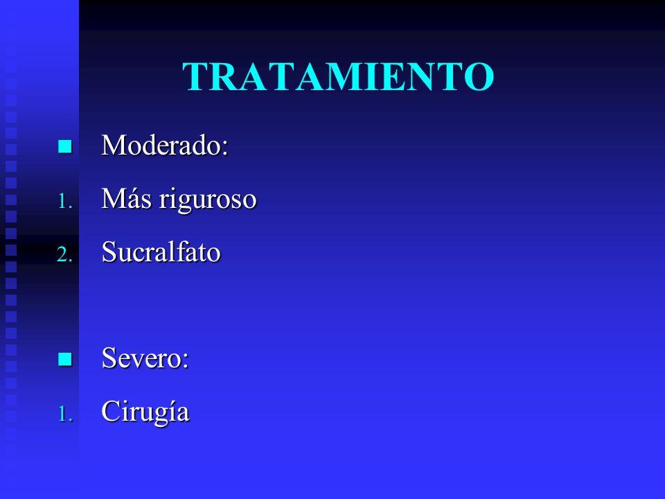 TRATAMIENTO Moderado: Más riguroso Sucralfato Severo: Cirugía