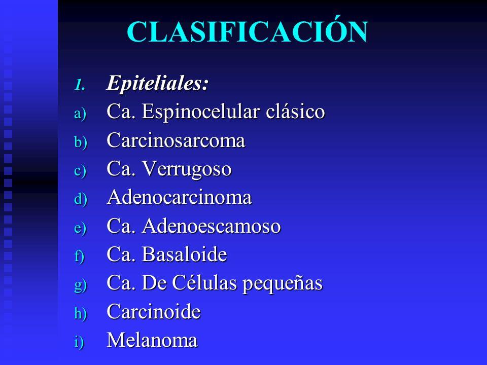 CLASIFICACIÓN Epiteliales: Ca. Espinocelular clásico Carcinosarcoma