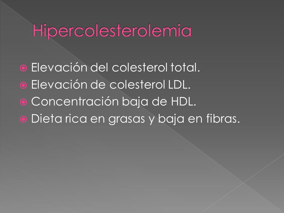Hipercolesterolemia Elevación del colesterol total.