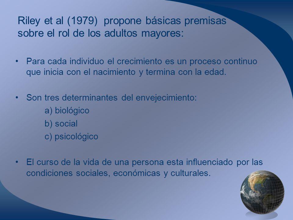 Riley et al (1979) propone básicas premisas sobre el rol de los adultos mayores: