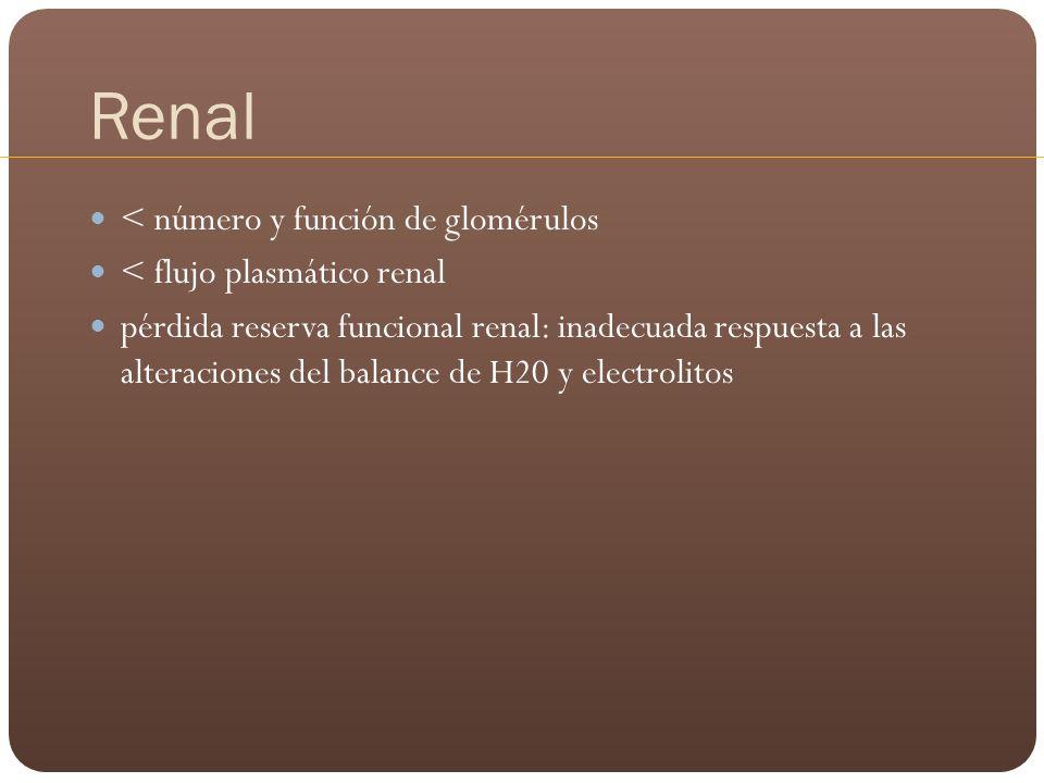 Renal < número y función de glomérulos < flujo plasmático renal