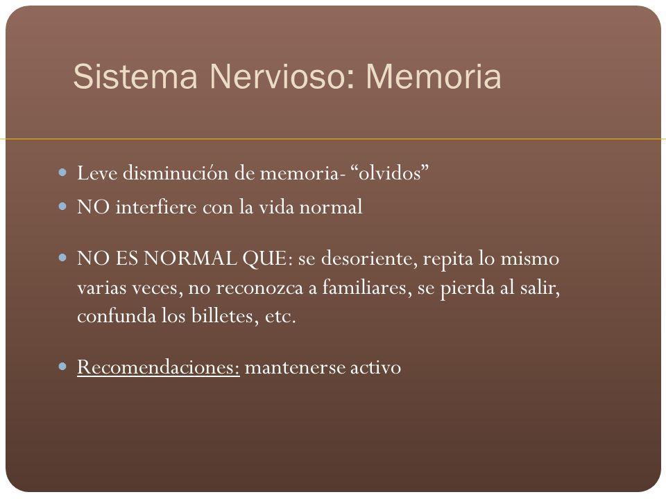 Sistema Nervioso: Memoria