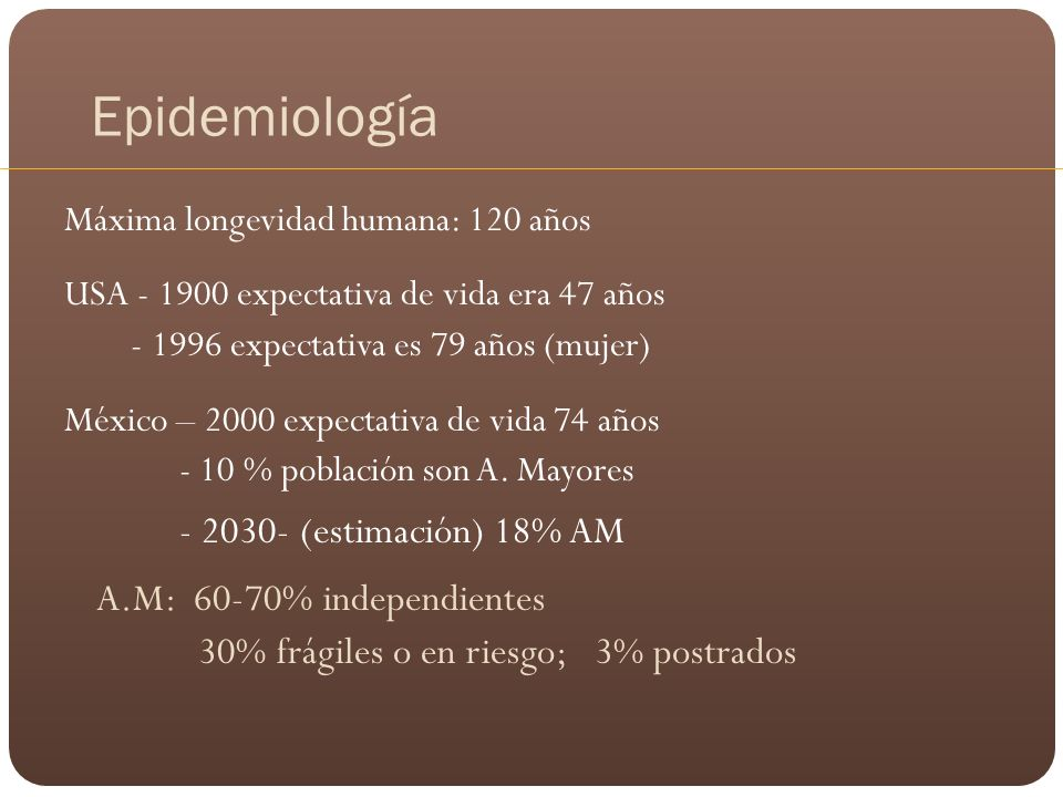 Epidemiología - 2030- (estimación) 18% AM A.M: 60-70% independientes