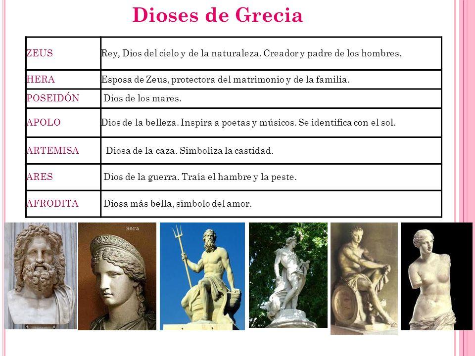 Dioses de Grecia ZEUS. Rey, Dios del cielo y de la naturaleza. Creador y padre de los hombres. HERA.