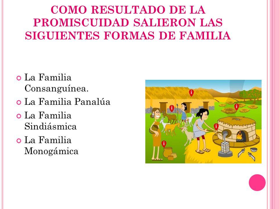 COMO RESULTADO DE LA PROMISCUIDAD SALIERON LAS SIGUIENTES FORMAS DE FAMILIA