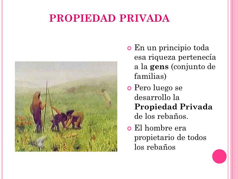 PROPIEDAD PRIVADA En un principio toda esa riqueza pertenecía a la gens (conjunto de familias)