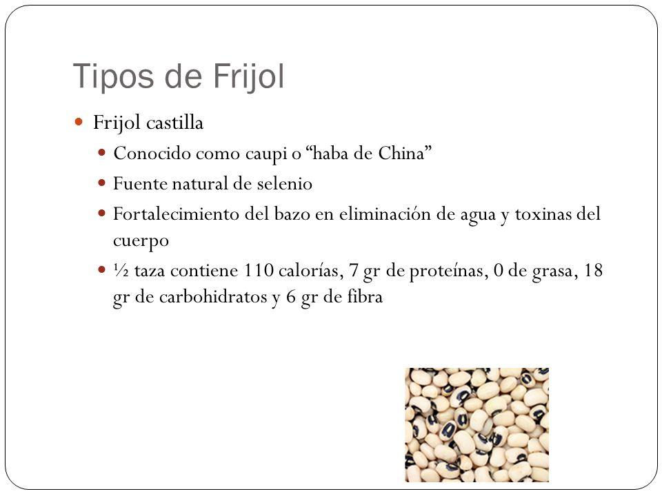 Tipos de Frijol Frijol castilla Conocido como caupi o haba de China