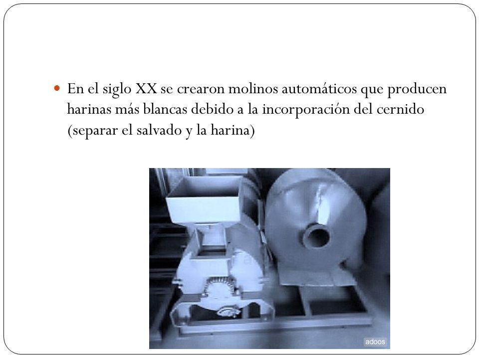 En el siglo XX se crearon molinos automáticos que producen harinas más blancas debido a la incorporación del cernido (separar el salvado y la harina)