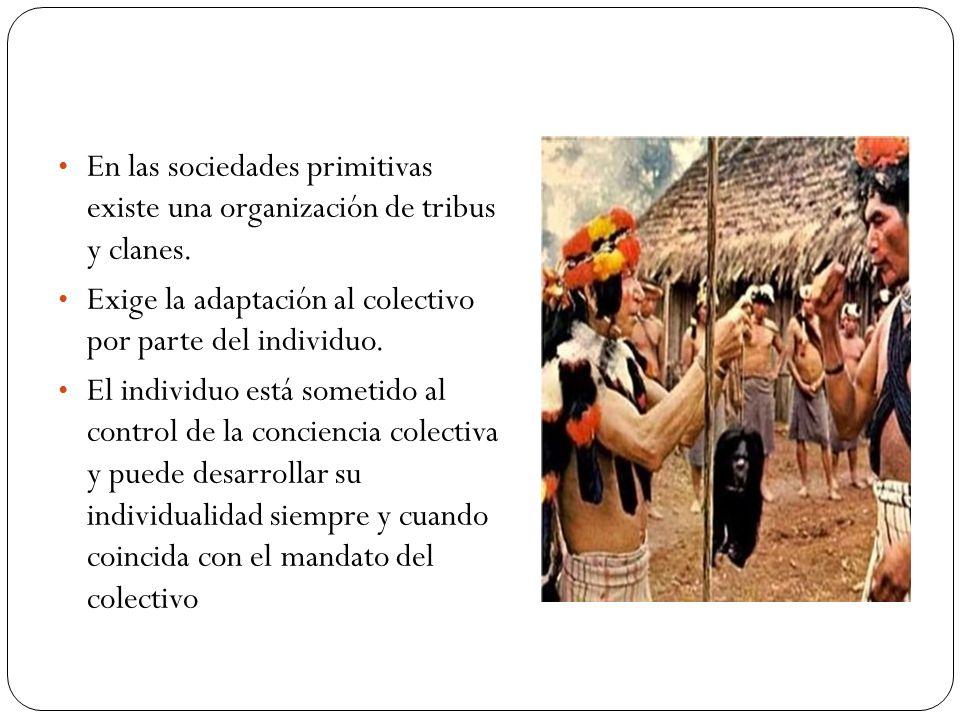En las sociedades primitivas existe una organización de tribus y clanes.