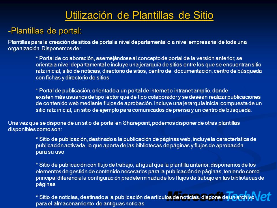 Utilización de Plantillas de Sitio