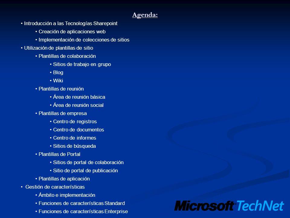 Agenda: Introducción a las Tecnologías Sharepoint