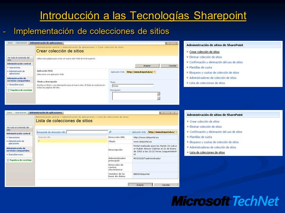 Introducción a las Tecnologías Sharepoint