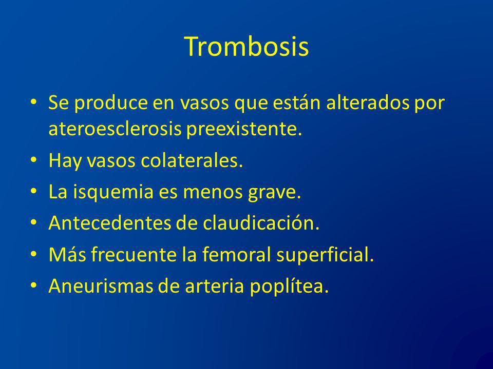 Trombosis Se produce en vasos que están alterados por ateroesclerosis preexistente. Hay vasos colaterales.