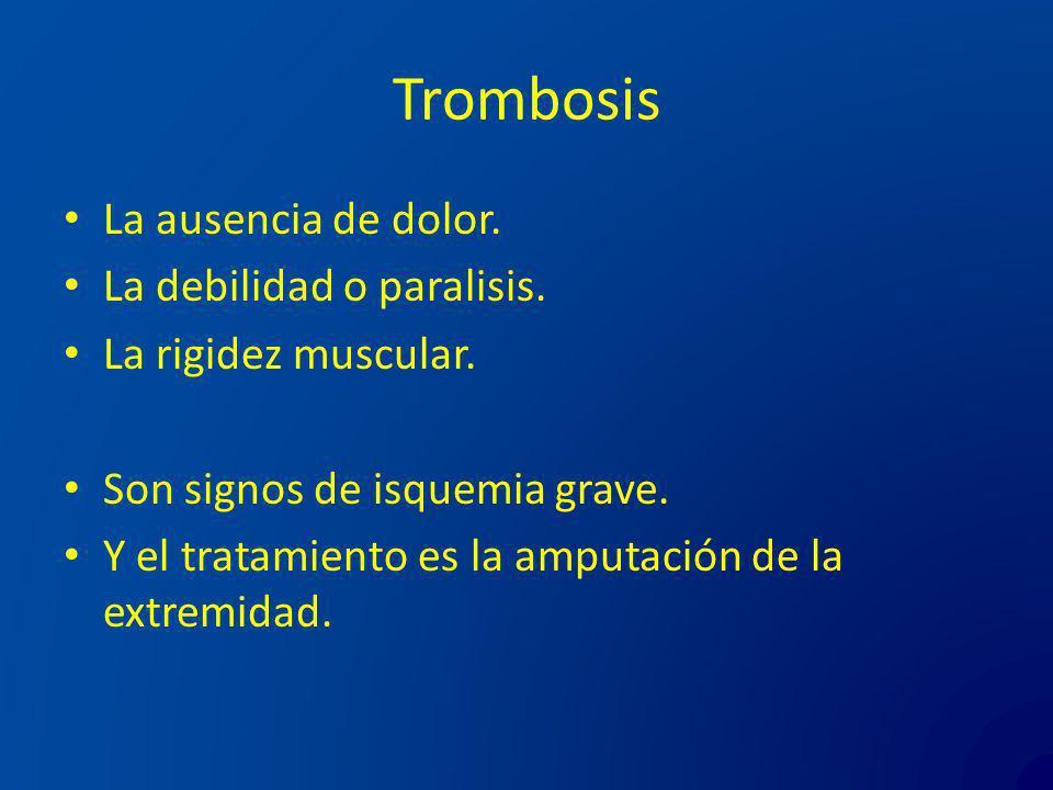 Trombosis La ausencia de dolor. La debilidad o paralisis.