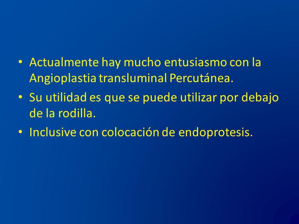 Actualmente hay mucho entusiasmo con la Angioplastia transluminal Percutánea.