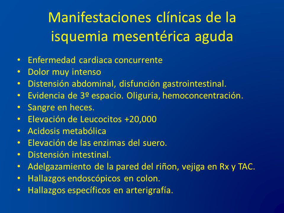 Manifestaciones clínicas de la isquemia mesentérica aguda