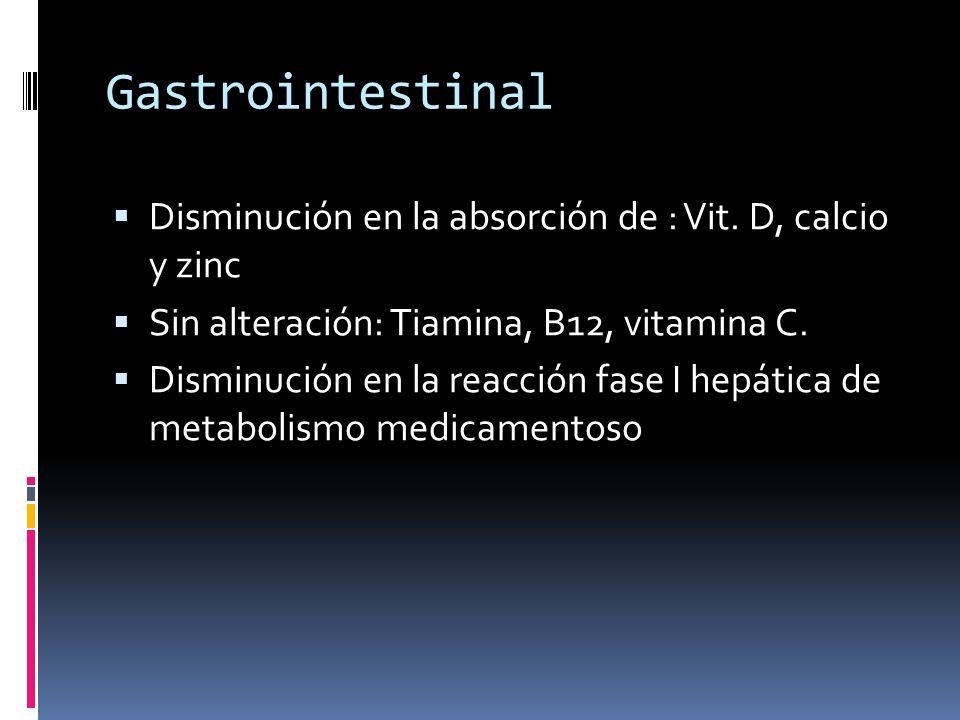 Gastrointestinal Disminución en la absorción de : Vit. D, calcio y zinc. Sin alteración: Tiamina, B12, vitamina C.
