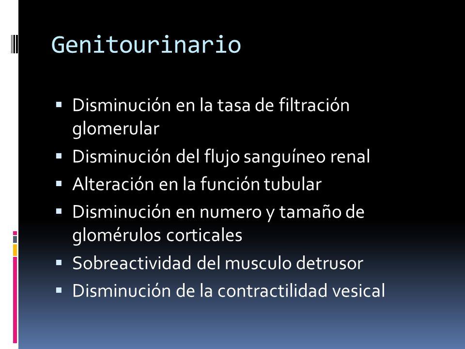 Genitourinario Disminución en la tasa de filtración glomerular