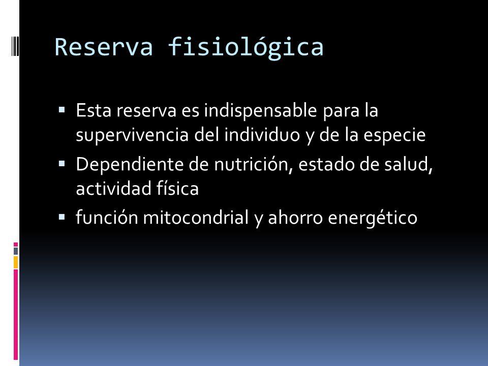 Reserva fisiológica Esta reserva es indispensable para la supervivencia del individuo y de la especie.
