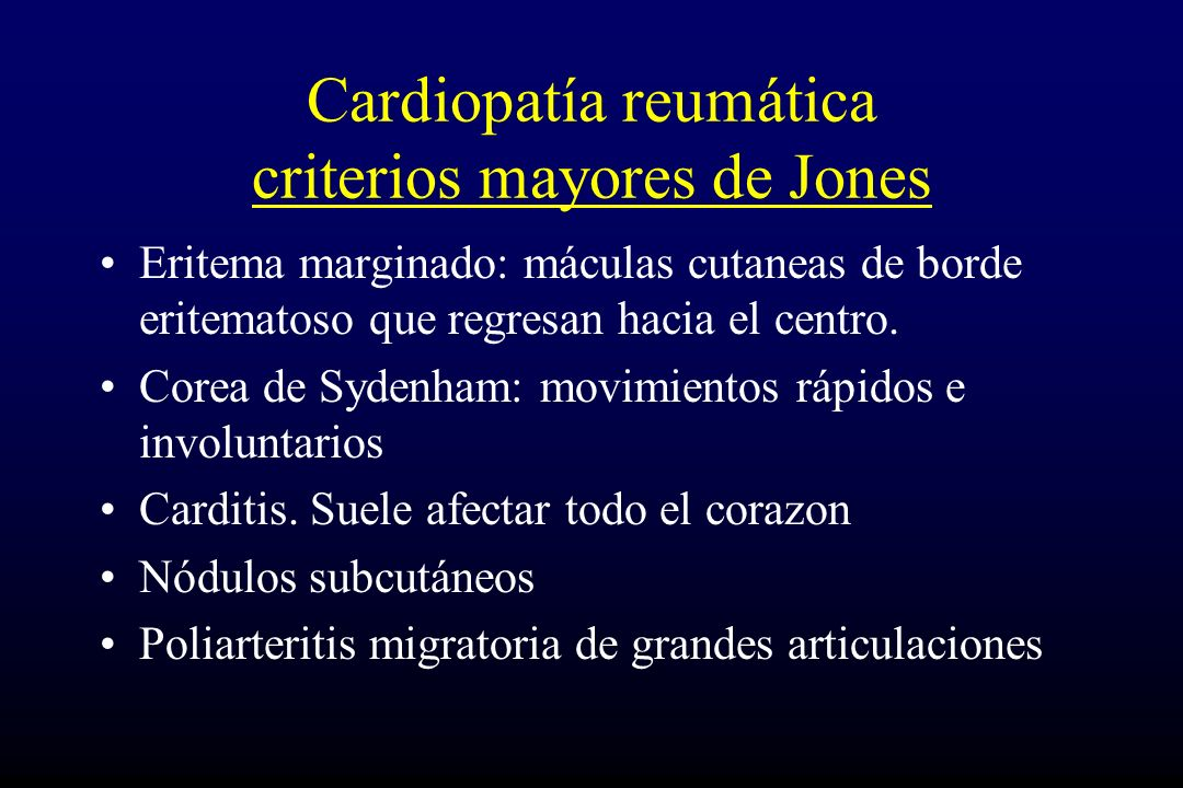 Cardiopatía reumática criterios mayores de Jones