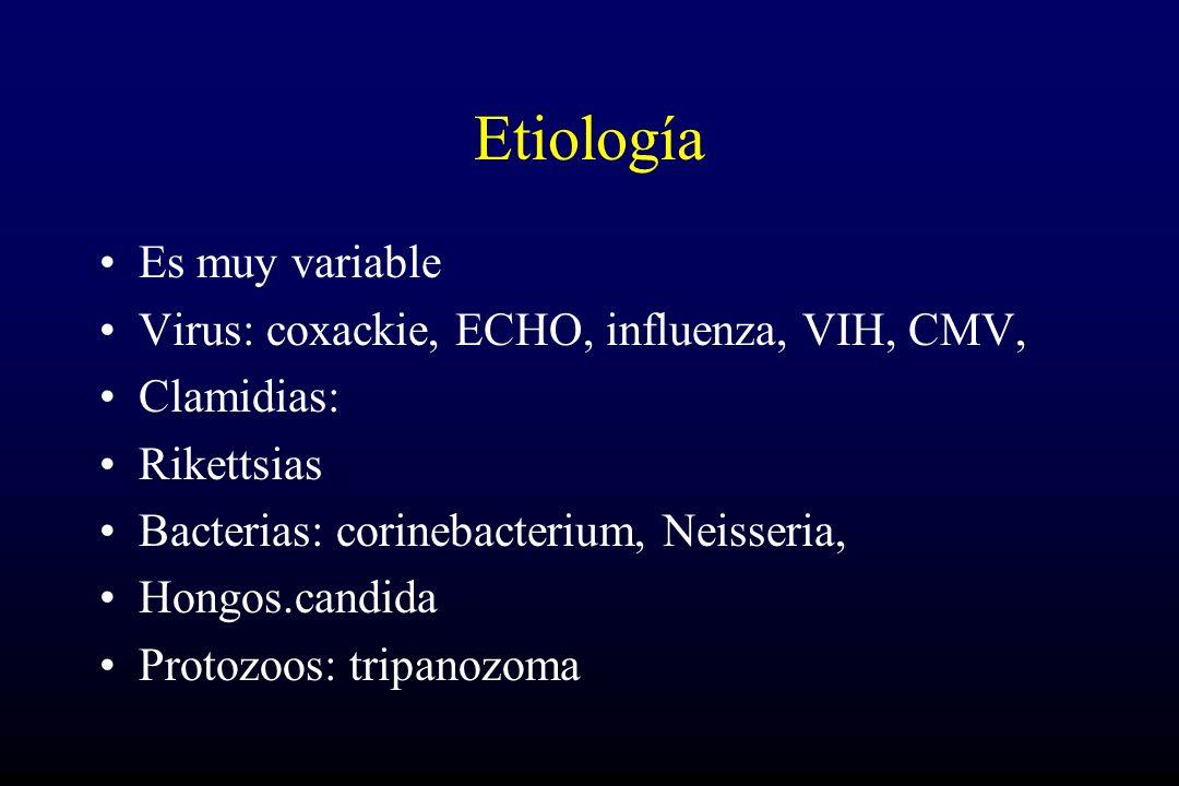 Etiología Es muy variable Virus: coxackie, ECHO, influenza, VIH, CMV,