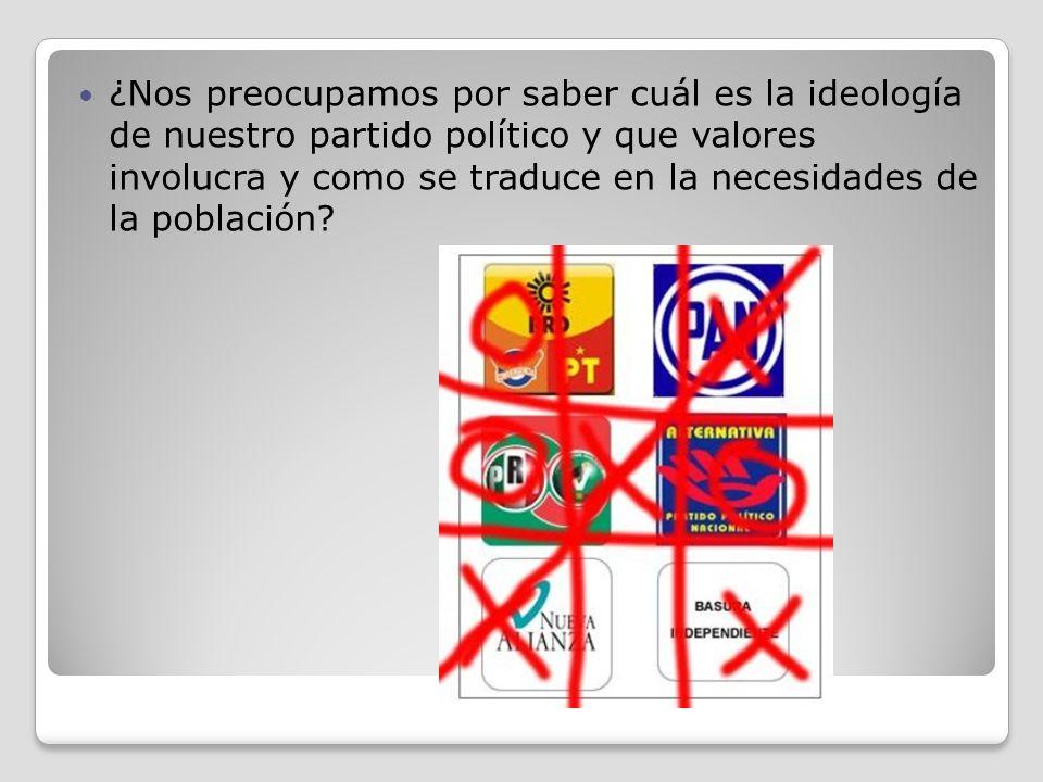 ¿Nos preocupamos por saber cuál es la ideología de nuestro partido político y que valores involucra y como se traduce en la necesidades de la población