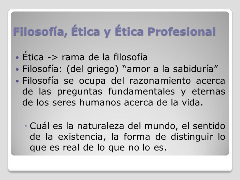 Filosofía, Ética y Ética Profesional