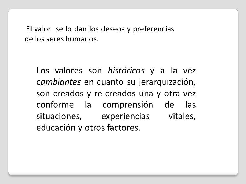 El valor se lo dan los deseos y preferencias de los seres humanos.