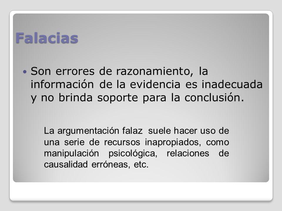 Falacias Son errores de razonamiento, la información de la evidencia es inadecuada y no brinda soporte para la conclusión.
