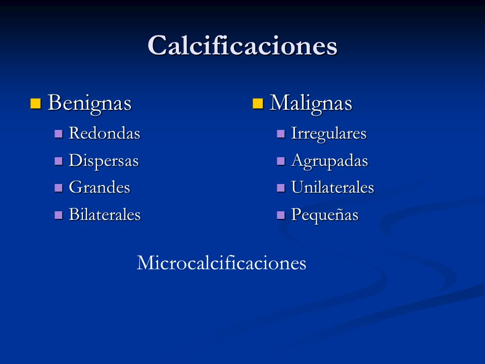 Calcificaciones Benignas Malignas Microcalcificaciones Redondas