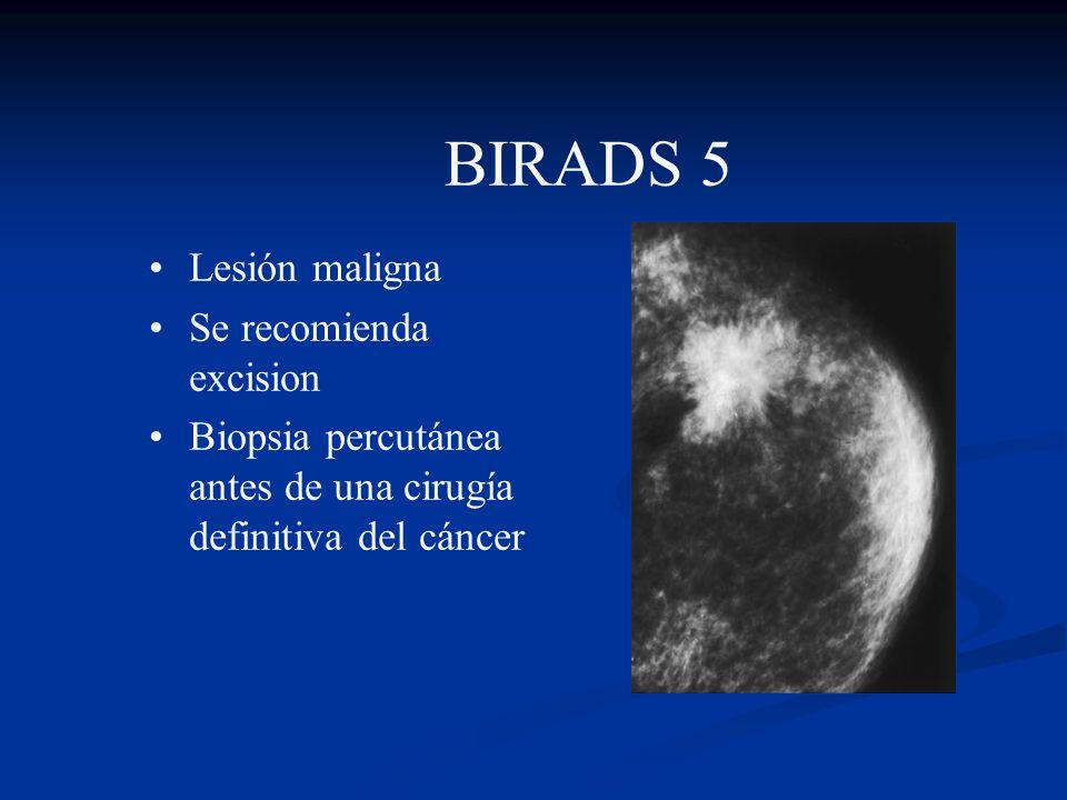 BIRADS 5 Lesión maligna Se recomienda excision