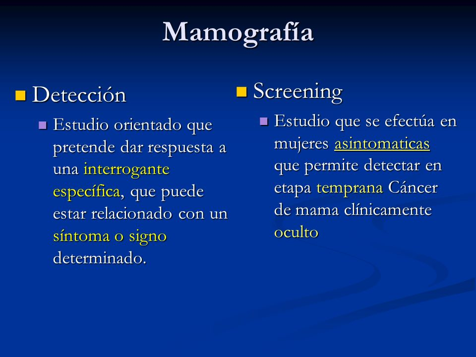 Mamografía Screening Detección
