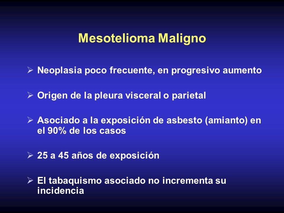 Mesotelioma Maligno Neoplasia poco frecuente, en progresivo aumento