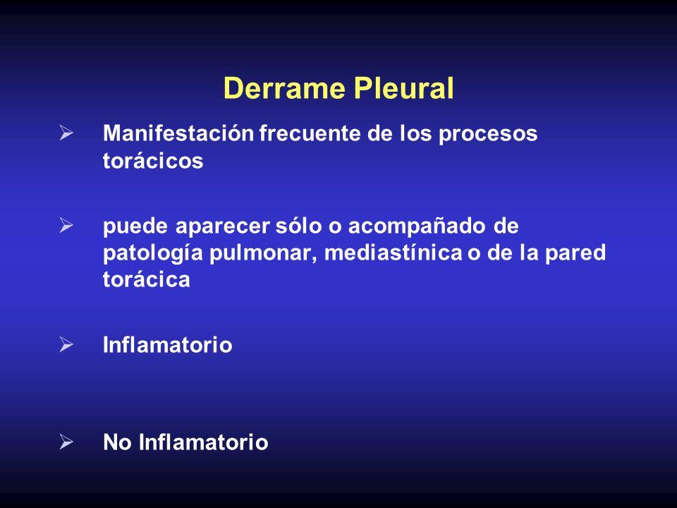 Derrame Pleural Manifestación frecuente de los procesos torácicos