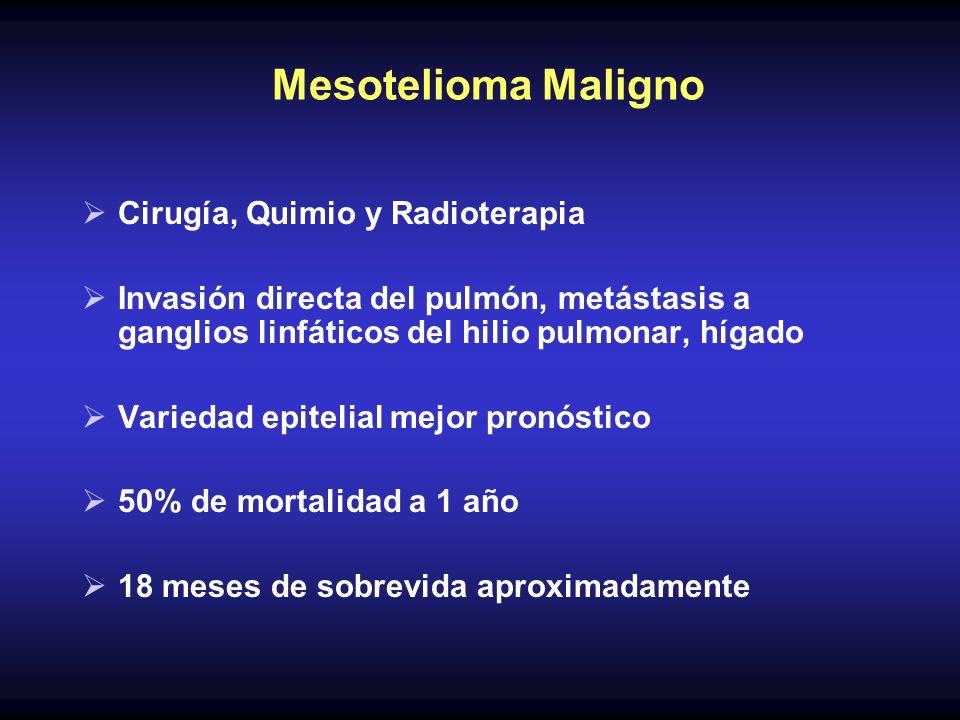 Mesotelioma Maligno Cirugía, Quimio y Radioterapia