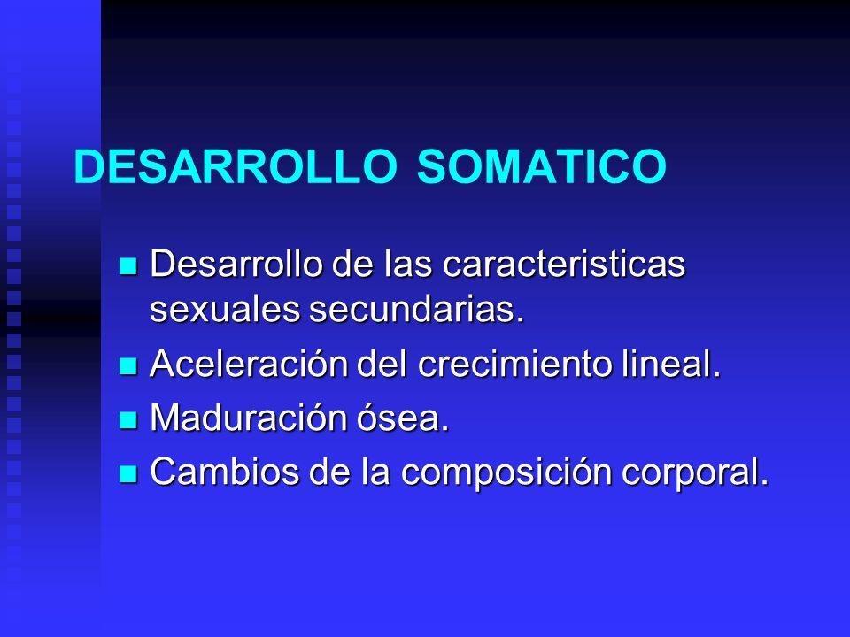 DESARROLLO SOMATICO Desarrollo de las caracteristicas sexuales secundarias. Aceleración del crecimiento lineal.