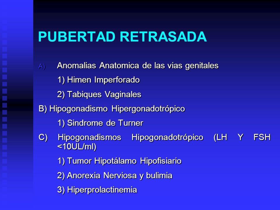 PUBERTAD RETRASADA Anomalias Anatomica de las vias genitales