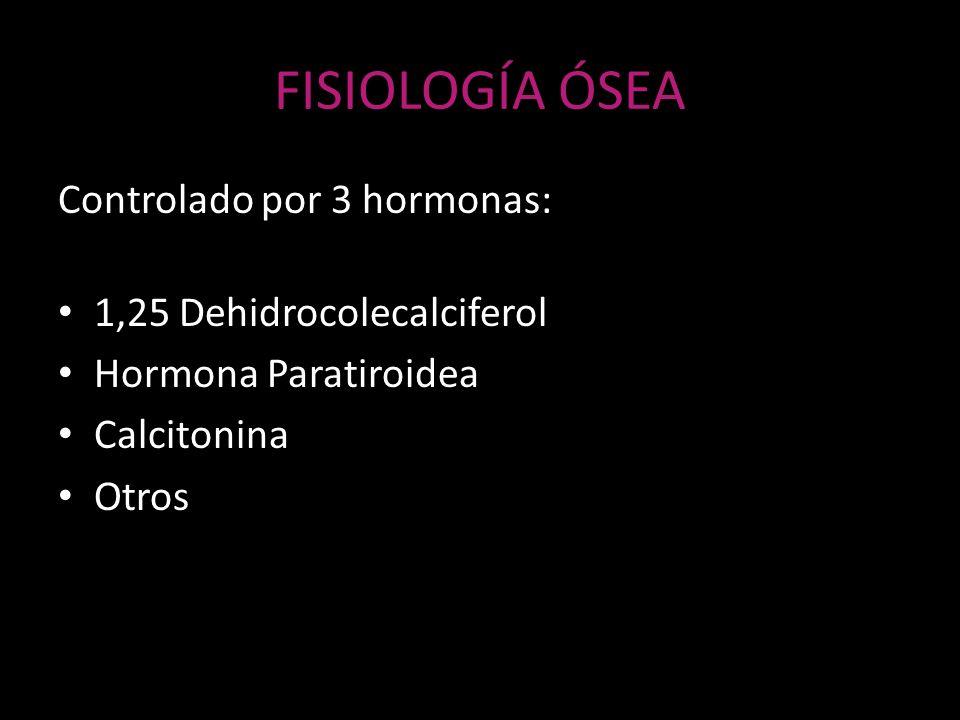 FISIOLOGÍA ÓSEA Controlado por 3 hormonas: 1,25 Dehidrocolecalciferol