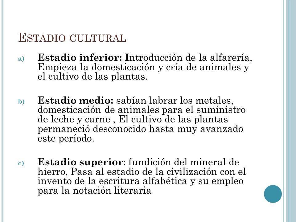 Estadio cultural Estadio inferior: Introducción de la alfarería, Empieza la domesticación y cría de animales y el cultivo de las plantas.