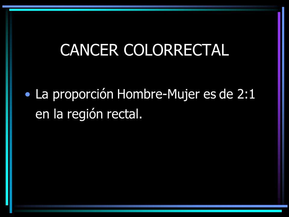 CANCER COLORRECTAL La proporción Hombre-Mujer es de 2:1 en la región rectal.