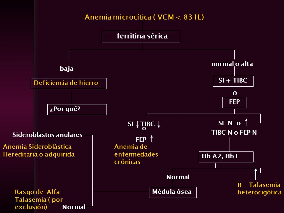 Anemia microcítica ( VCM < 83 fL)