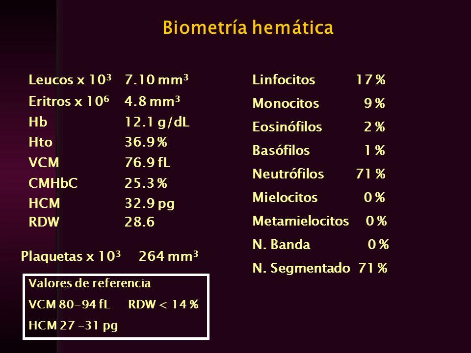 Biometría hemática Leucos x 103 7.10 mm3 Eritros x 106 4.8 mm3 Hb