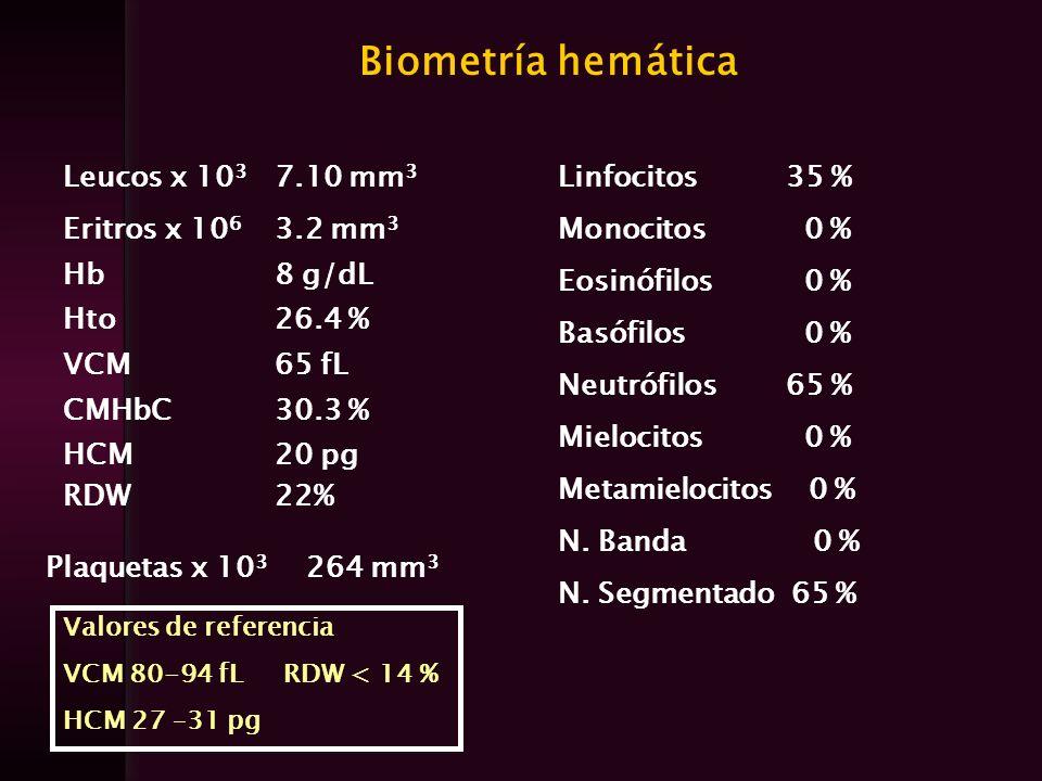Biometría hemática Leucos x 103 7.10 mm3 Eritros x 106 3.2 mm3 Hb