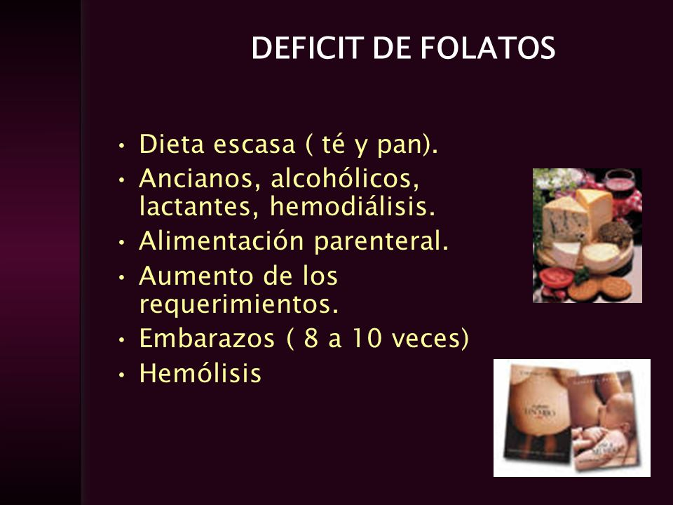 DEFICIT DE FOLATOS Dieta escasa ( té y pan).