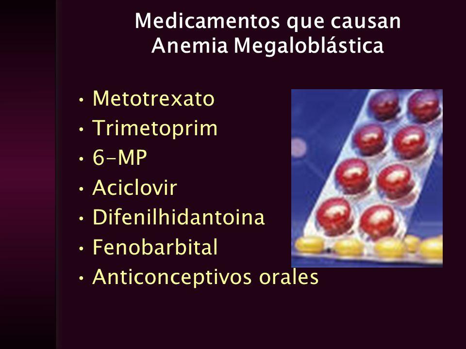 Medicamentos que causan Anemia Megaloblástica