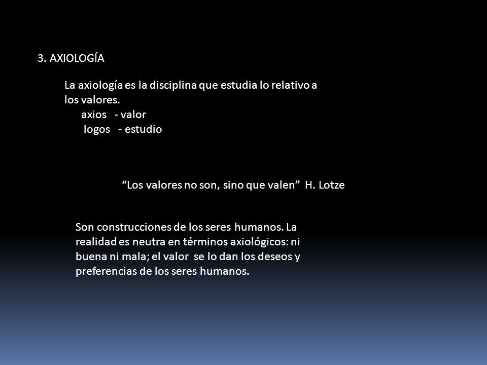 3. AXIOLOGÍA La axiología es la disciplina que estudia lo relativo a los valores. axios - valor.