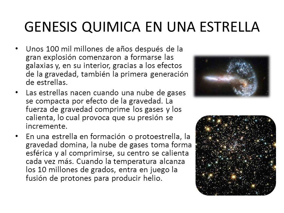 GENESIS QUIMICA EN UNA ESTRELLA