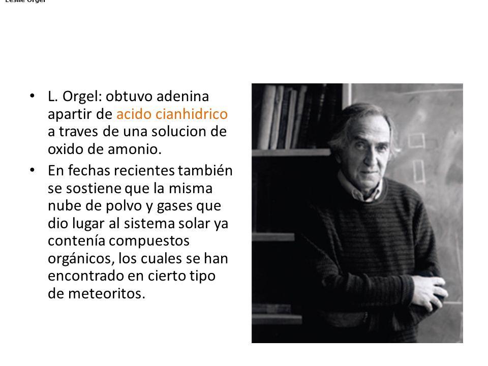 Leslie Orgel L. Orgel: obtuvo adenina apartir de acido cianhidrico a traves de una solucion de oxido de amonio.