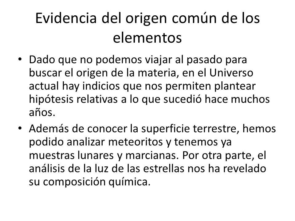 Evidencia del origen común de los elementos